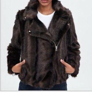 NWT Zara Women's Faux Fur Biker Jacket Size Small